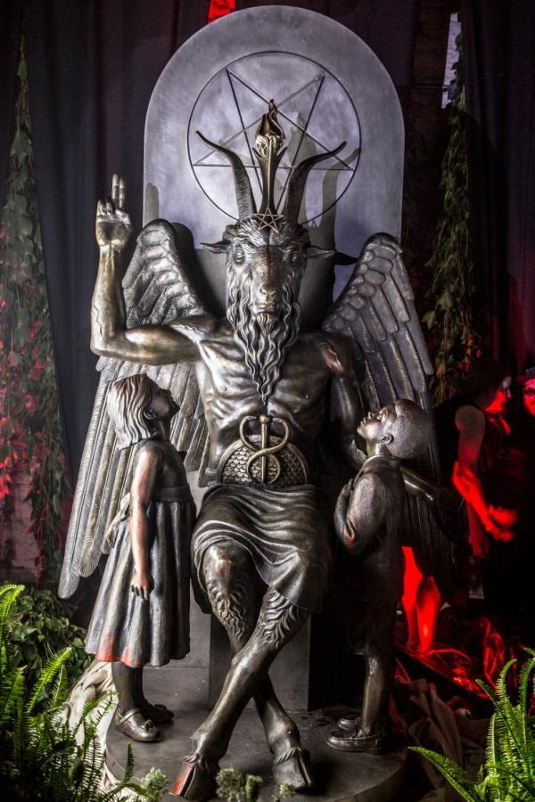 "Statue of Baphomet in Detroit: Baphomet (the deity of half man, half goat), the Goat of Mendes (Egyptian), the god of the witches, the mutation of the biblical scapegoat was the jewish way of mocking Christ as the ""Lamb"" who dies for the sins of Adamkind."