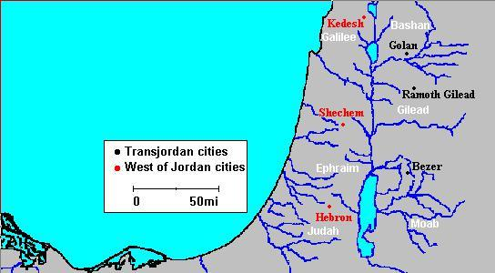 The six cities of refuge in Israel.