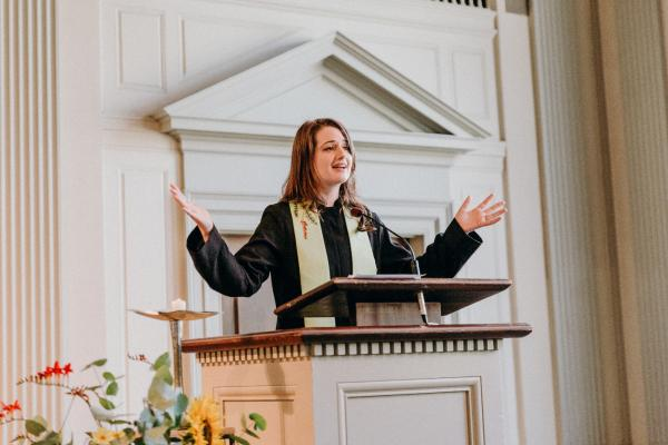 Reverend Abigail Clauhs, an Interfaith Chaplaincy MDiv student at Claremont, California School of Theology, a Unitarian Universalist minister who developed the interreligious Coresist symbol in 2017.