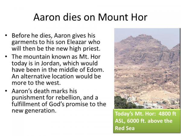 Aaron died on Mount Hor