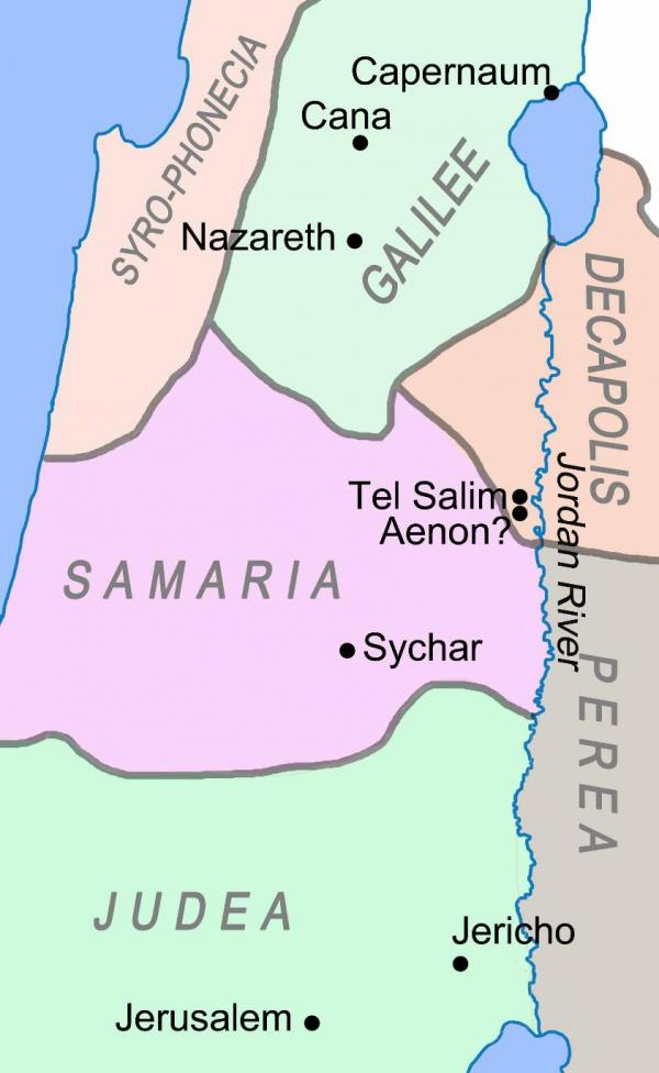 Map showing the three main regions of the Promised Land
