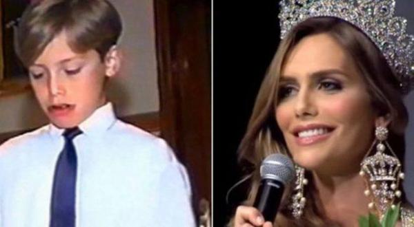 Before and after pictures of Miss Spain 2018 Angela Ponce: as a boy at 11 and now a girl.