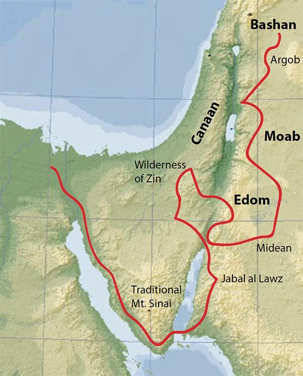 "The journeys of the Israel people after the exodus from Egypt.  The Argob, the ""land of the giants"" is to the east of the Sea of Galilee."