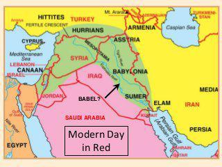 Location of Babel by current Middle East borders