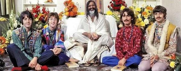 "The Beatles with their Hindu ""guru,"" Maharishi Mahesh Yogi.The band claimed to have created 48 songs in this phase!"