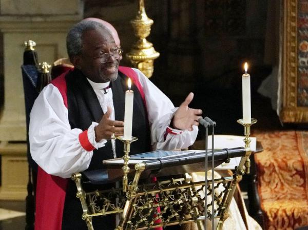 Bishop Michael Bruce Curry delivering the sermon during the wedding ceremony of Britain's Prince Harry, Duke of Sussex and United States' bi-racial actress Meghan Markle