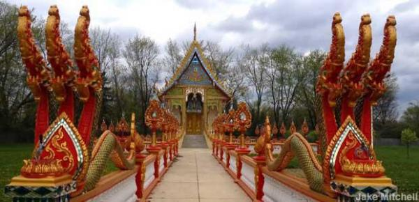 A Buddhist temple in America, built by Laotians.