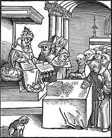 The Pope as the Anti-Christ, signing and selling indulgences.