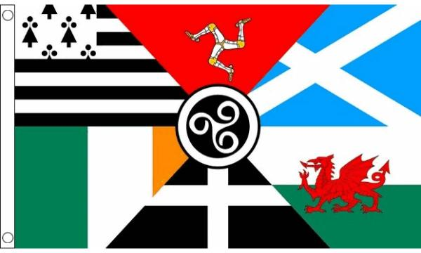 This is the newer Celtic Nations flag since the 7th and 8th nation (namely, Galicia and Asturias) no longer have a population that uses a Celtic language.