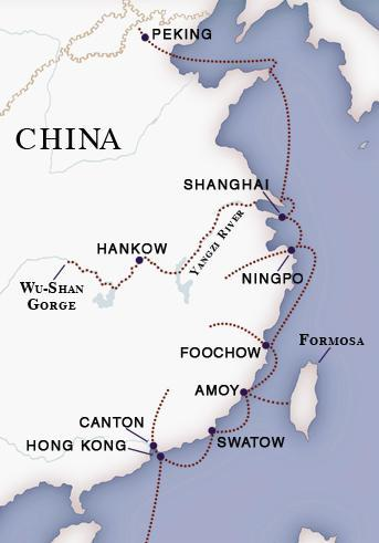 "This is a map showing the new ports that opened because of the second treaty made in the opium war. In the new ""Peace Treaty"" of October 25, 1860, the British were assigned rights to vastly expanded opium trade covering seven-eighths of China, which brought in over 20 million pounds in 1864 alone."