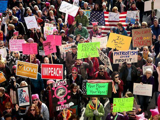 Thousands participate in the Cincinnati Women's March Saturday, January 20, 2018.