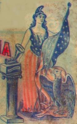 Image of Columbia from a Columbia Records phonograph cylinder package.