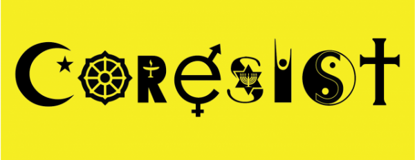 """Reverend Abigail Clauhs, a Unitarian Universalist minister, designed this interreligious """"Coresist"""" image in 2017. 1. The """"C"""" is a symbol of Islam's star and crescent; 2. The """"O"""" is a symbol of Buddhism's dharma wheel; 3. The """"R"""" is a symbol of the Unitarian Universalism's flaming chalice; 4. The """"E"""" is a symbol of the Inclusive gender symbols; 5. The """"S"""" is a symbol of Judaism's Star of David and menorah; 6. The """"I"""" is a symbol of Humanism's happy human; 7. The """"S"""" is a symbol of Taoism/Confucianism's yin and yang symbol, and 8. The """"T"""" is a symbol of Christianity's cross."""