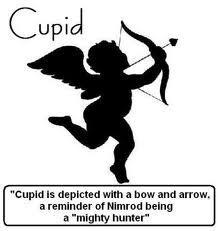 Cupid is depicted with a bow and arrow, a reminder of Nimrod being a 'mighty hunter'.