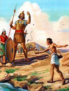 David meets this great warrior of the Philistine army in his regular clothes and his sling-shot. Goliath is covered with body armor and even has a soldier in front of him carry a shield to protect him from arrows and stones.