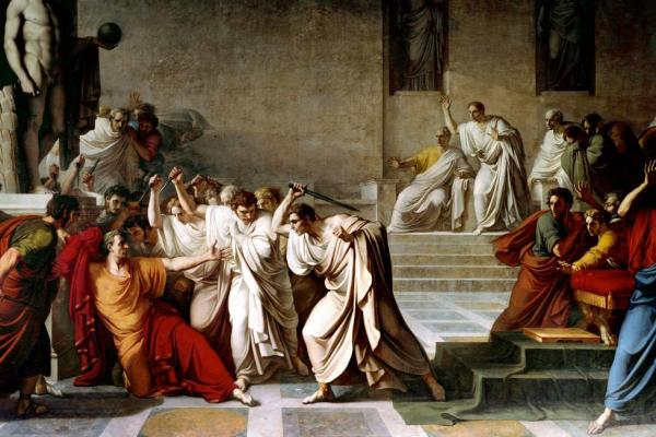The assassination of the Roman emperor, Julius Caesar, and a betrayal by an entrusted friend.
