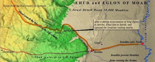Ehud, the deliverer of Israel, first gives a tribute to Eglon, the king of Moab, in his summer palace at Jericho.  Then after going to Gilgal, he returns and assassinates Eglon.  Ehud escapes to Seirah, where he summons the men who were living in the hill country of Ephraim.  They then go and seize the fords on the Jordan River.