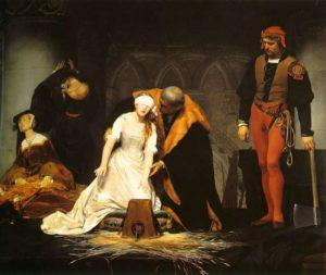 'The Execution of Lady Jane Grey', by Paul Delaroche, 1833.  Lady Jane and her husband were beheaded on February 12, 1554.