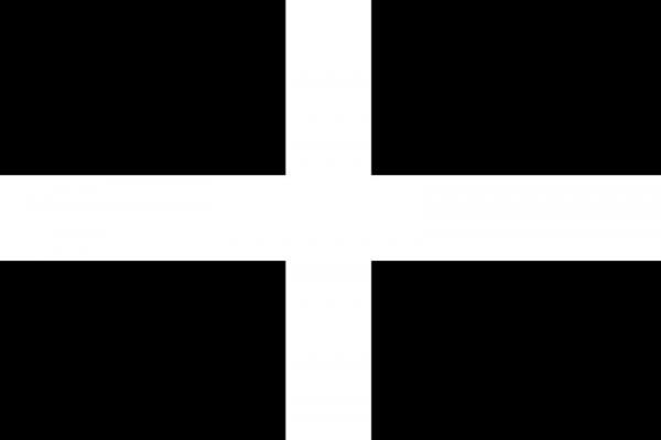 The flag has been called the banner of St. Perran and the Standard of Cornwall. The legend goes that the black symbolizes the black ore and the white the bright silver color of molten tin that St. Perran witnessed being smelted.