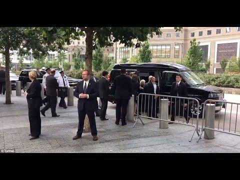 Hillary, who the Democrats said is in almost perfect health, came down with pneumonia and was literally dragged into the security van during the 2016 9/11 ceremony.