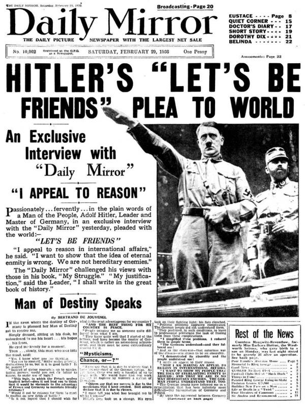 1936 Daily Mirror newspaper interview with Adolf Hitler