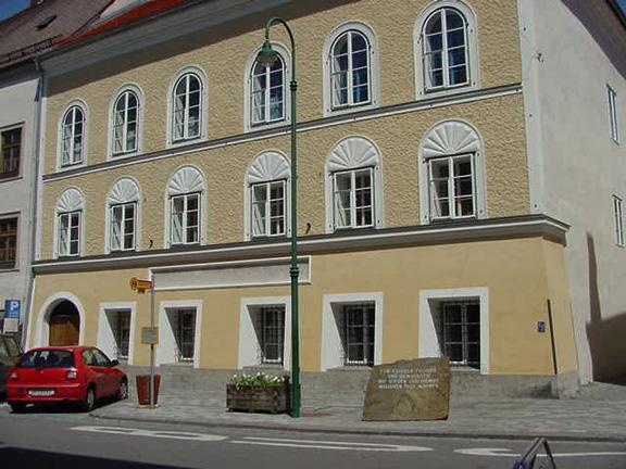 Braunau am Inn, the town in which Adolf Hitler was born.  This is the actual location of his birth.
