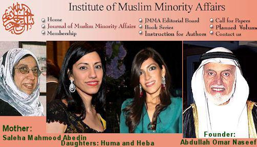 The Institute of Muslim Minority Affairs is affiliated with the Muslim Brotherhood and Al Qaeda Funder Abdullah Omar Naseef.