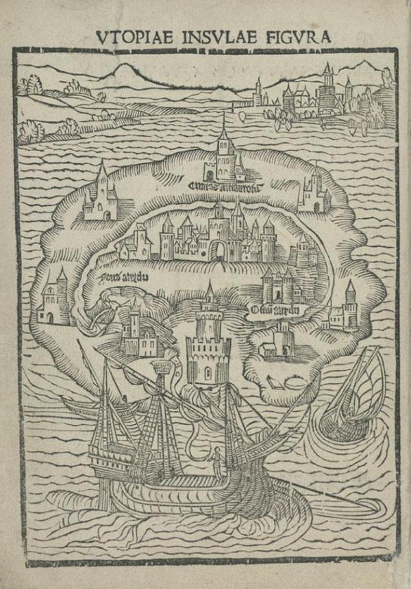 The imaginary island of Utopia was shaped like a crescent.