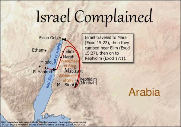 Israel traveled to Mara, then they camped near Elim, and then on to Rephidim.