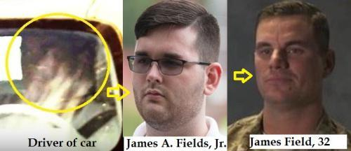 Arrested in Charlottesville was 20 year old James A. Fields.  There are photos of a man driving the Charger.  The photos weren't of 20 year old James A. Fields, but rather, 32 year old James G. Fields. The previous owner of the car was the father of an ANTIFA member!