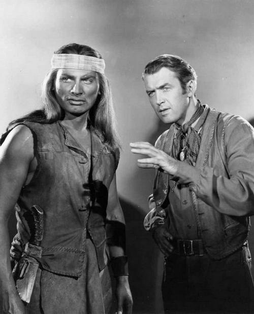 "Jeff Chandler and James Stewart as Cochise and Jeffords in the propaganda movie ""Broken Arrow"".  Broken Arrow is a movie promoting race-mixing and is a false account of something that did not actually happen in real life."