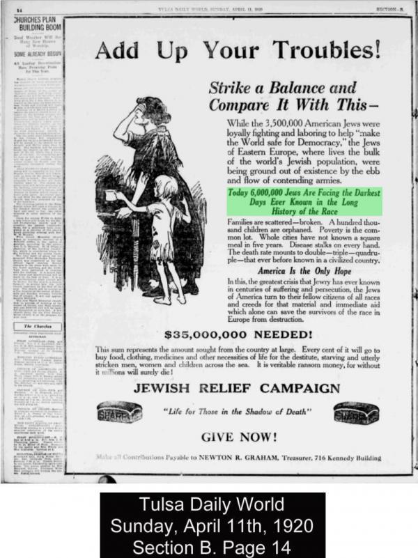 "A 1920's Jewish relief campaign advertisement states: ""Today 6,000,000 Jews are facing the darkest days ever known in the history of the race."""