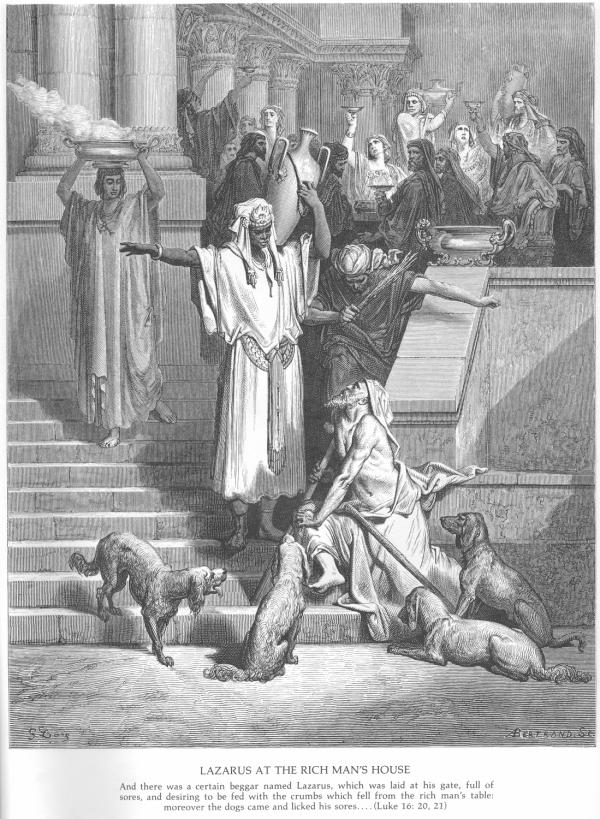 A woodcut by Gustave Dore' titled 'Lazarus at the Rich Man's House' in which the artist rendered the rich man as a negro and the setting is his opulent estate with Lazarus languishing at the bottom of the steps with some dogs.