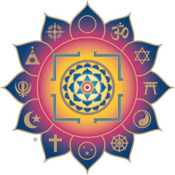 Emblem for Light Of Truth Universal Shrine in Yogaville.  Notice the 6 pointed star in the center.