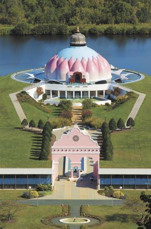 Light Of Truth Universal Shrine, the first interfaith shrine to house altars for all the world's faiths.  The outside of the temple takes the shape of a lotus flower, a sacred symbol in eastern religions like Buddhism and Hinduism.