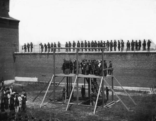 The condemned Lincoln conspirators on the scaffold, 1865.