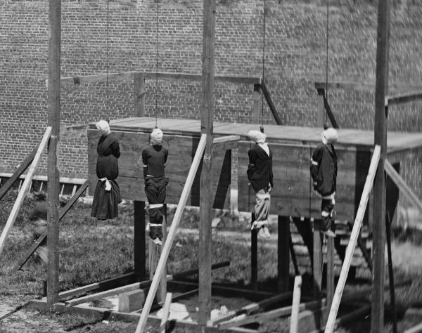 The bodies of the conspirators who killed Abraham Lincoln continued to hang and swing for another 25 minutes before they were cut down.
