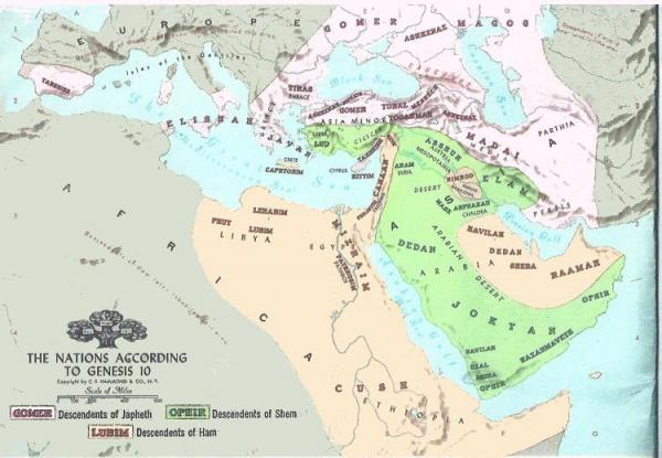 Another map showing where the three sons of Noah dwelt.