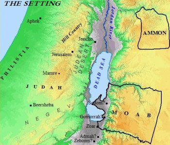 Abraham was living in Hebron (Mamre) while Lot was living in Sodom (possible location).