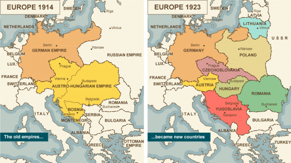 Map comparison of Europe 1914 vs. 1923
