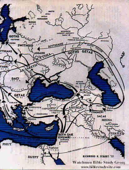 This map shows the bulk of the migrations of Israel covered in this lesson. Some of the smaller names are difficult to read. Notice Halah and Habor just below the Caspian Sea; Iberia between the Caspian and Black seas; Arsareth and Scythia above the Black Sea (as is Ukraine today); and Getae, Thrace and Troy above the Mediterranean Sea.