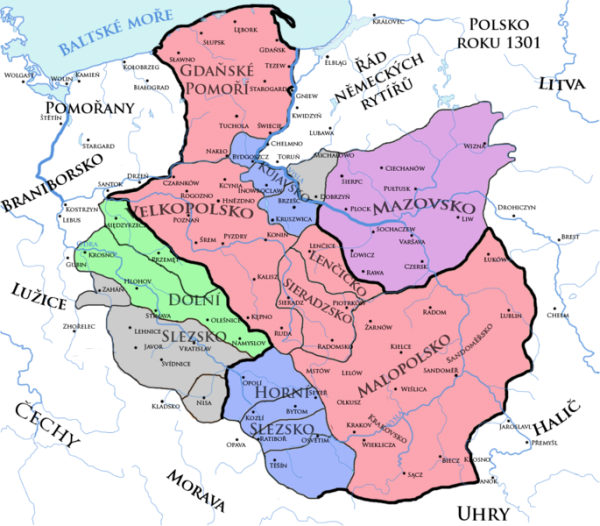 Map showing no Poland in 1301