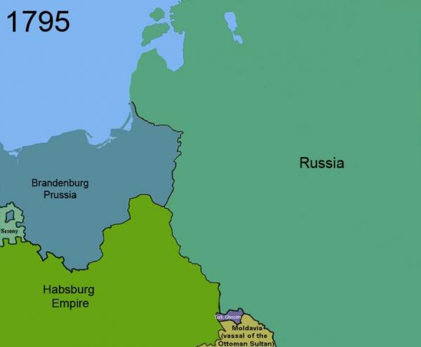1795: Poland divided up between Russia, Prussia and the Habsburg Empires