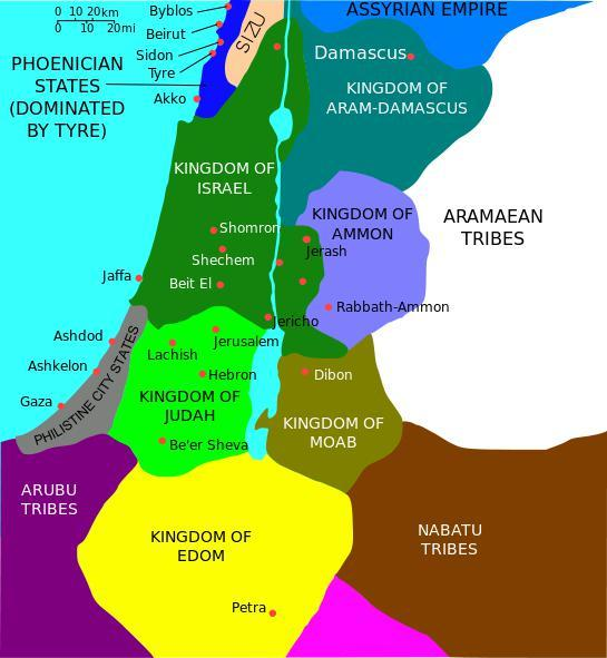 Map of the divided kingdoms of Israel.  The northern territory is the kingdom of Israel, the southern territory is the kingdom of Judah.  The kingdom of Edom (Jews) is a completely different territory.