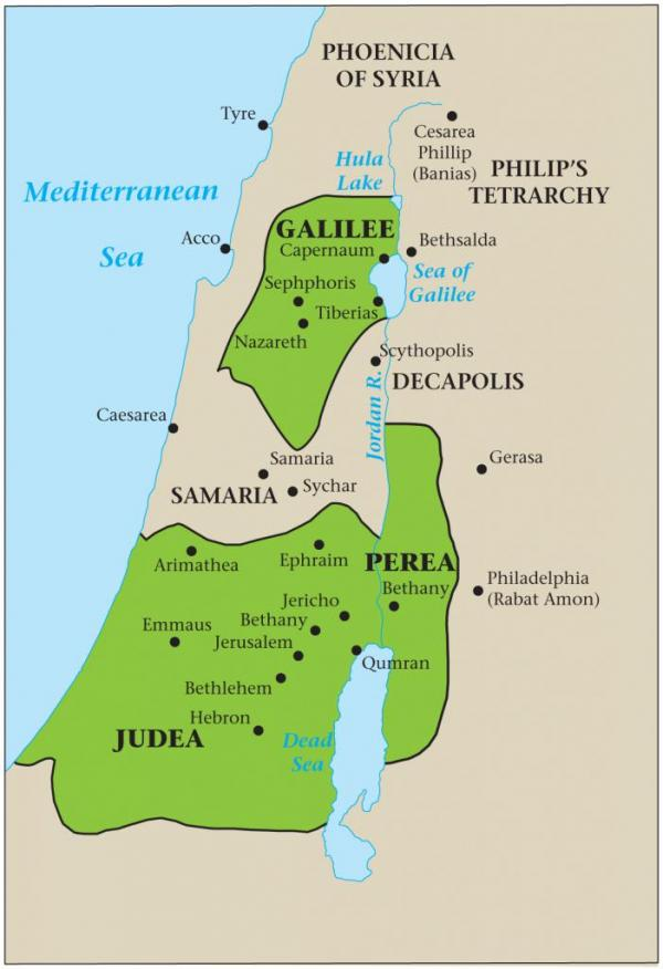Map showing the portion of Galilee (mostly Benjaminites), Samaria (mostly strangers), and Judea (mostly Judah).  Levi was sprinkled in both parts, but was mainly in Judea.
