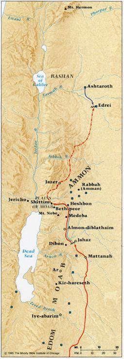 The kingdom of Sihon extended along the mountain range and plateaus east of the Jordan from the river Jabbok on the north to the river Arnon on the south.