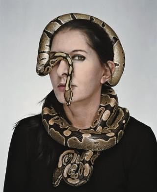 Marina Abramovic's right-eye covered by a viper