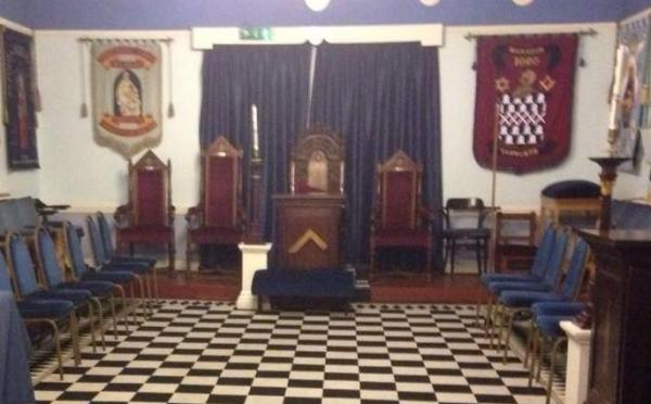 Black and white checked-board floor in a Masonic Lodge