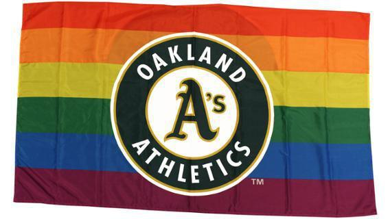 The Oakland Athletics gave away this Pride flag.