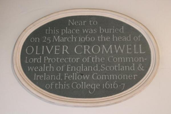 Plaque at Sidney Sussex College, the Puritan school that Cromwell had attended. They buried him on their campus.